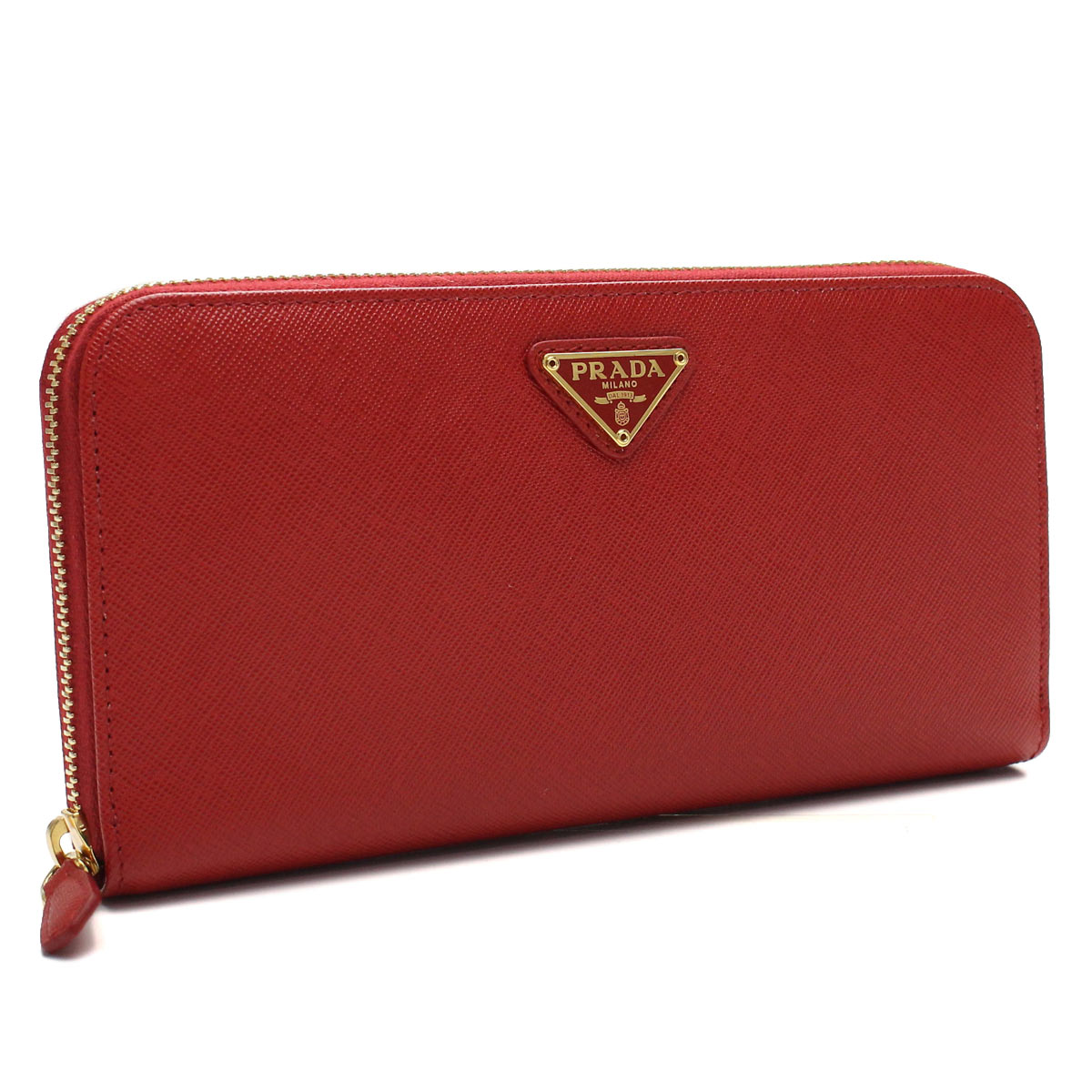801d348454b89 Prada (PRADA) Zip around wallet coin with QHH-F068Z FUOCO red series(  taxfree send by EMS authentic A brand new item )