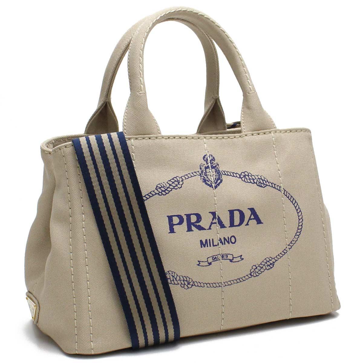 プラダ PRADA バッグ カナパ トートバッグ 1BG439 ZKI V ROO F081D CORDA/BLU ベージュ系 【レディース】