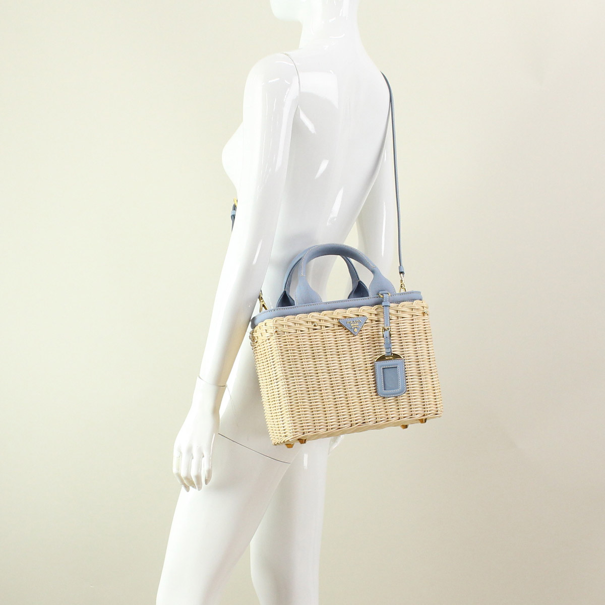 Prada (PRADA) handbags 1BG835-2E28-F0JZ8 NATURALE+ASTRAL blue( taxfree/send by EMS/authentic/A brand new item )