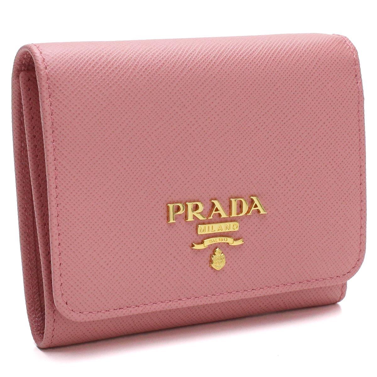 プラダ PRADA サフィアーノ サフィアーノメタル 3つ折り財布 小銭入れ付き 1MH176 QWA F0442 PETALO ピンク系 レディース【キャッシュレス 5% 還元】