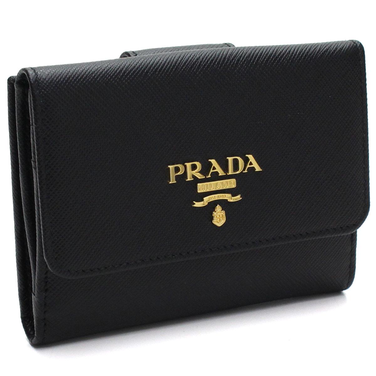 プラダ PRADA サフィアーノ メタル Wホック財布 1MH523 QWA F0002 NERO ブラック 【レディース】