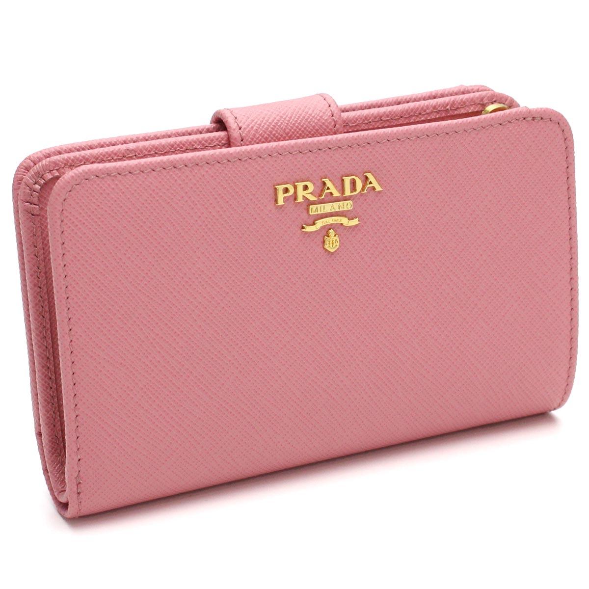 プラダ PRADA 財布 二つ折り 小銭入付き 1ML225 QWA F0442 PETALO ピンク系 レディース【キャッシュレス 5% 還元】