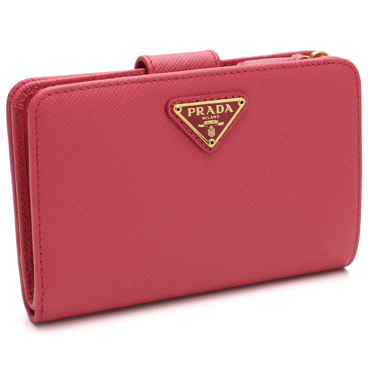 4995940e483 Bighit The total brand wholesale  1ML225 QHH F0505 PEONIA pink system with  the Prada (PRADA) サフィアーノトライアングル two fold wallet coin purse