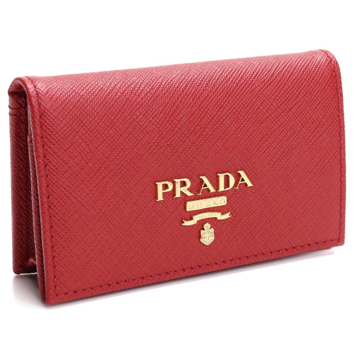 プラダ PRADA サフィアーノ 名刺入れ カードケース 1MC122 QWA F068Z FUOCO レッド系 レディース