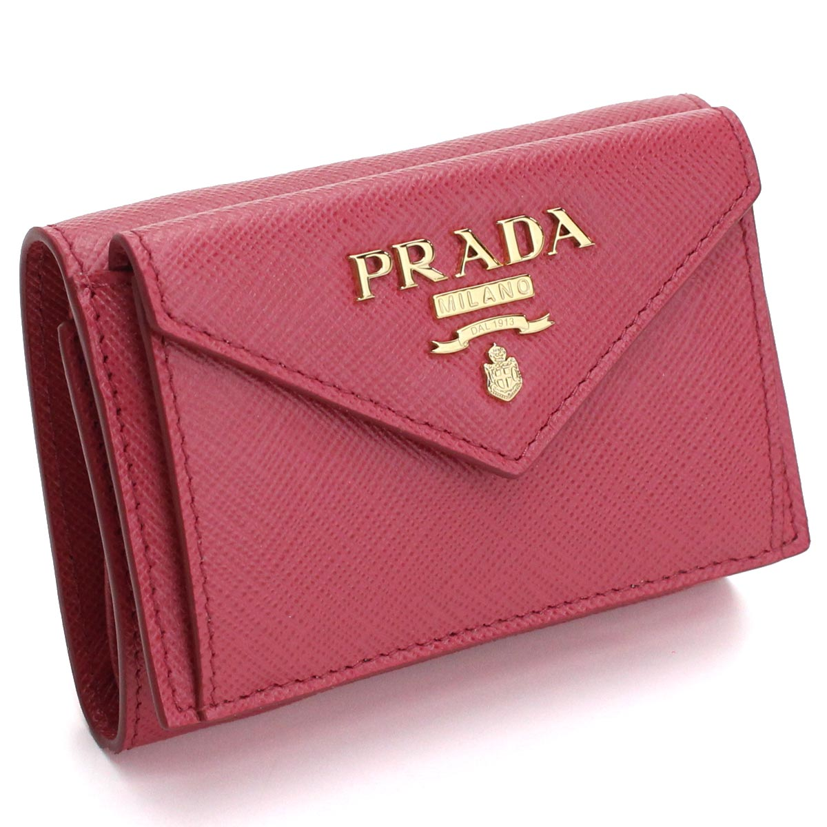 プラダ PRADA サフィアーノ メタル 3つ折り財布 ミニ財布 1MH021 QWA F0505 PEONIA ピンク系 レディース【キャッシュレス 5% 還元】