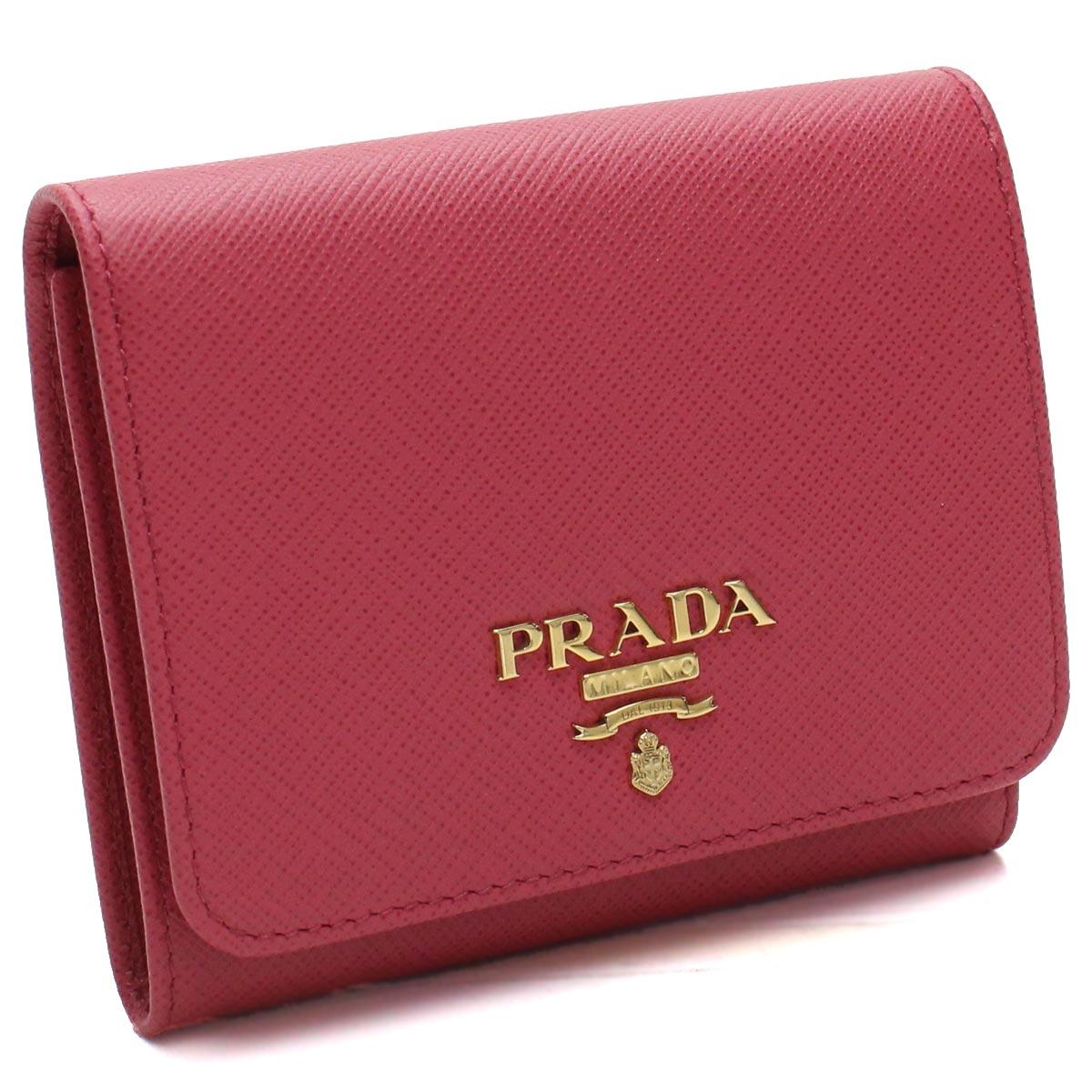 プラダ PRADA サフィアーノ メタル 3つ折り財布 1MH176 QWA F0505 PEONIA ピンク系 レディース