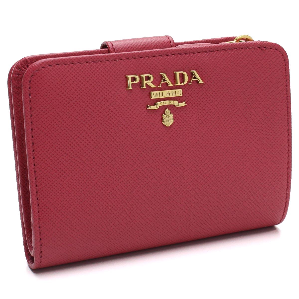 プラダ PRADA サフィアーノメタル コンパクト 2つ折り財布 1ML018 QWA F0505 PEONIA ピンク系 レディース