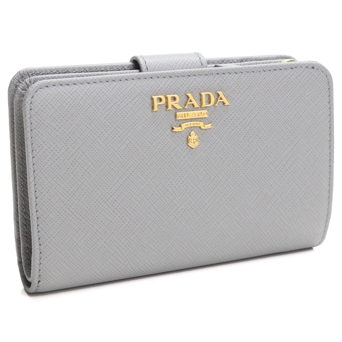 プラダ PRADA サフィアーノ シャイン 2つ折り財布 コンパクト財布 1ML225 QWA F0424 NUBE グレー系 レディース