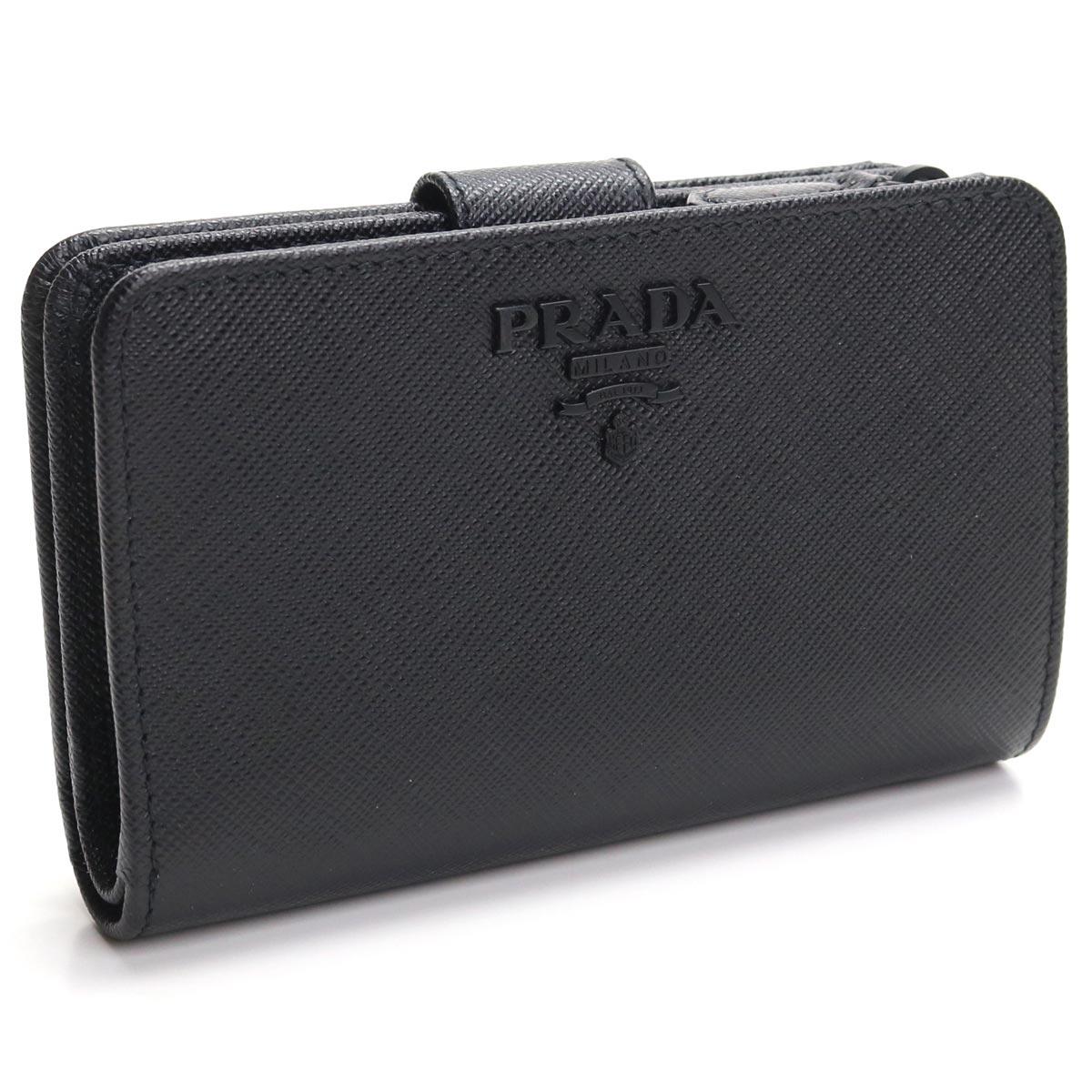 プラダ PRADA サフィアーノ 2つ折り財布 コンパクト財布 1ML225 2EBW F0ES9 NERO N. ブラック レディース