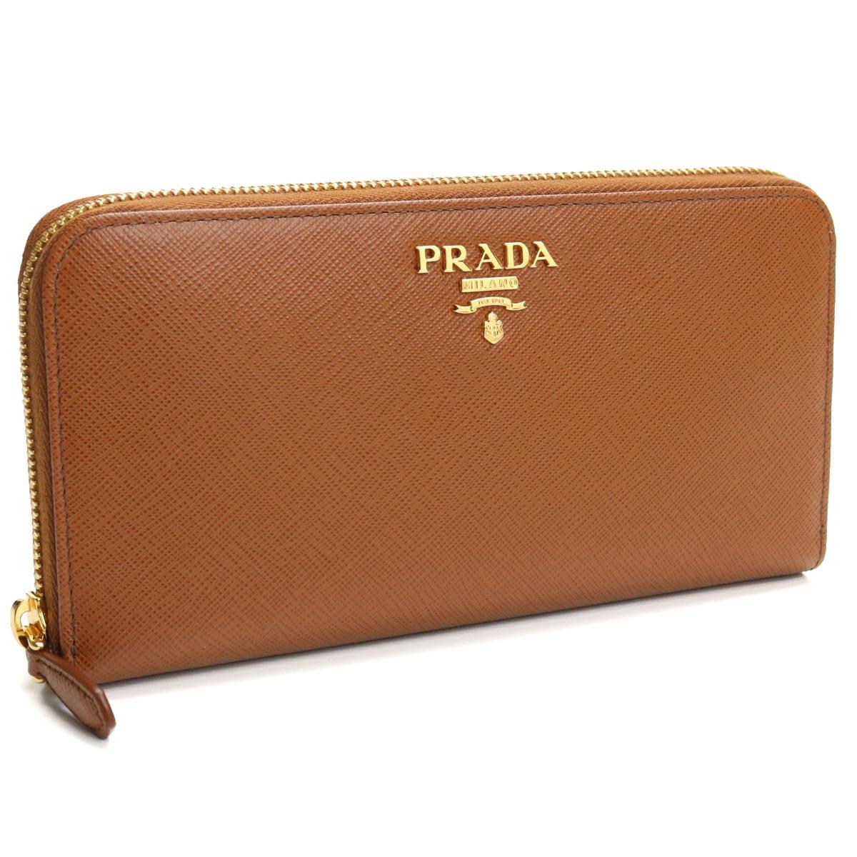 プラダ PRADA サフィアーノ ラウンドファスナー長財布 1ML506 QWA F0046 COGNAC ブラウン系 レディース