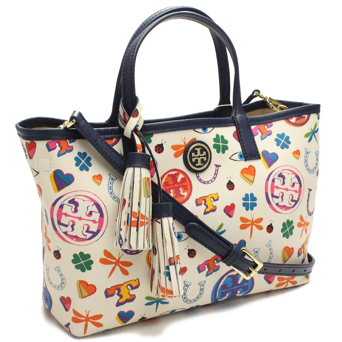 9ecf716e796 Bighit The total brand wholesale  Tory Burch (TORY BURCH) tote bag  41149509-960 NEW IVORY LUCK PRINT white series multi-color( taxfree send by  ...