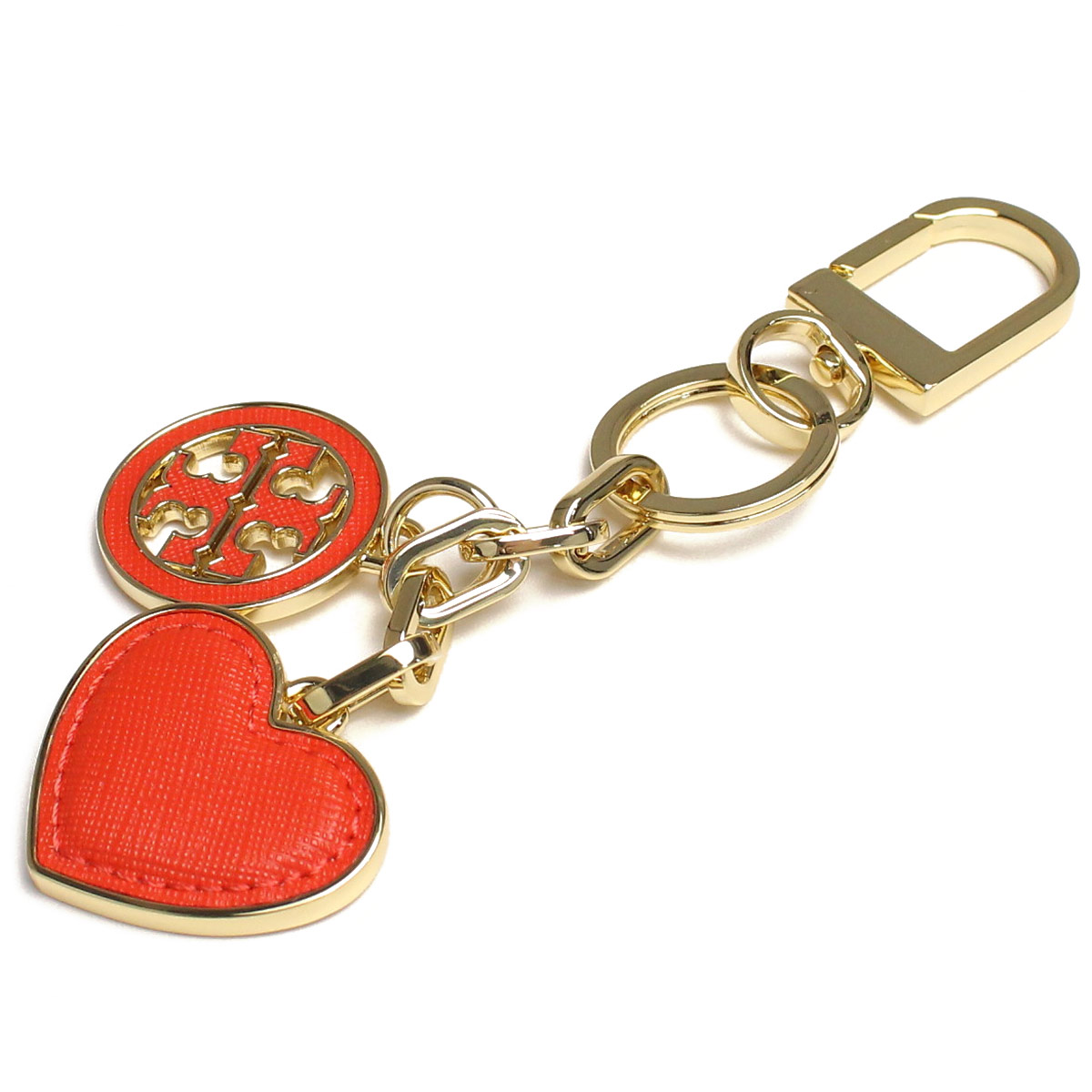 0d3e7eb204b5 Bighit The total brand wholesale  Tory Burch (TORY BURCH) LOGO AND HEART  KEY FOB key ring 11169312-605 Orange POPPY RED( taxfree send by  EMS authentic A ...