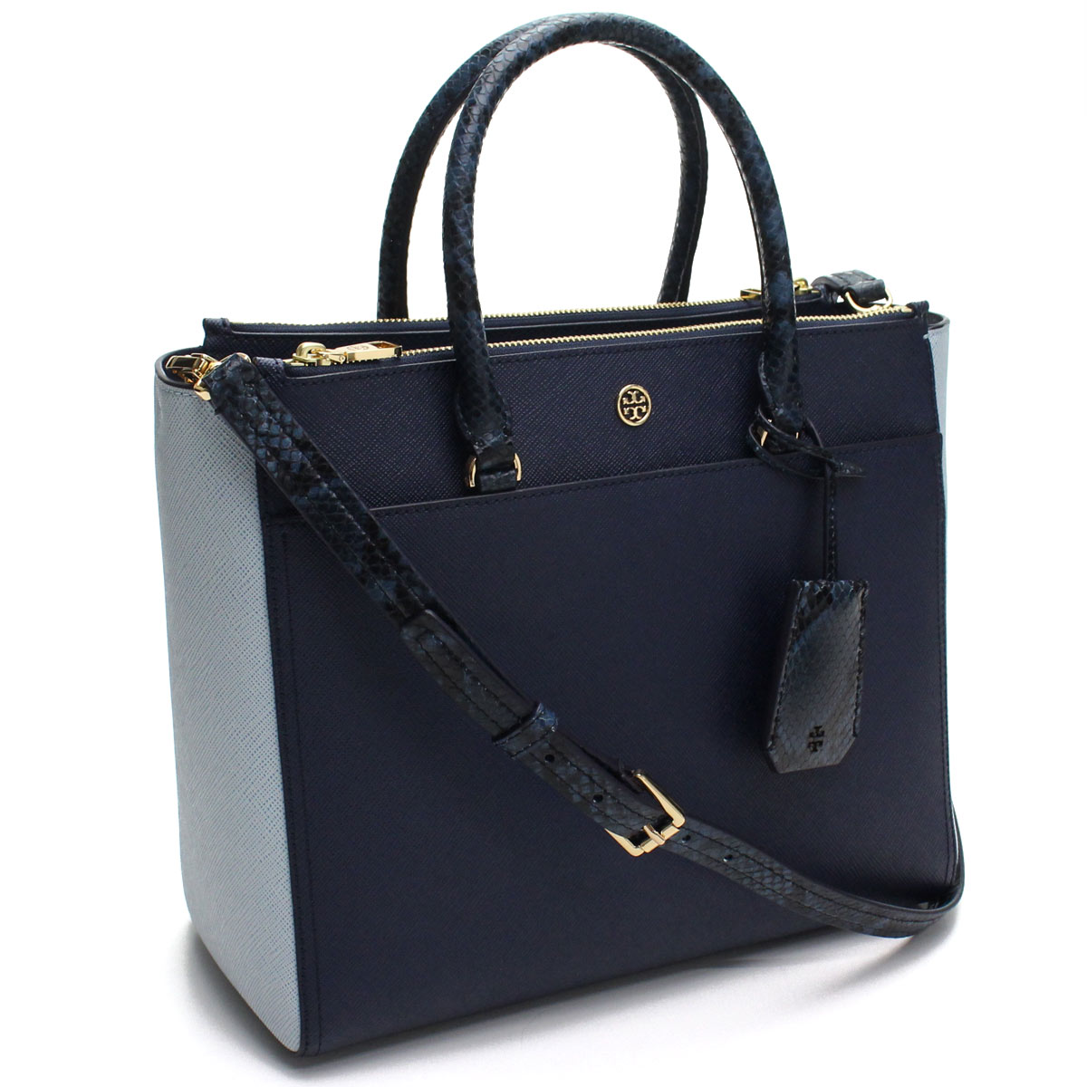 トリーバーチ TORY BURCH ROBINSON MIXED-MATERIALS トートバッグ 50989 425 ROYAL NAVY/BLUE MULT ブルー系 【レディース】