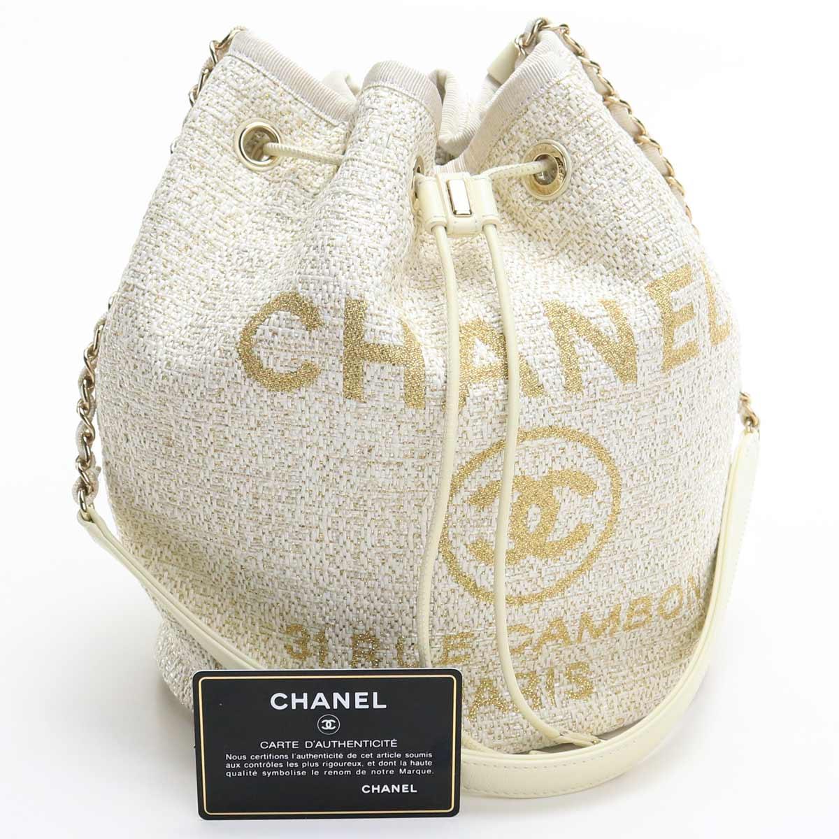 【中古美品】 シャネル CHANEL 巾着型 ショルダー ドーヴィル アイボリー 【ランク:S】 us-1