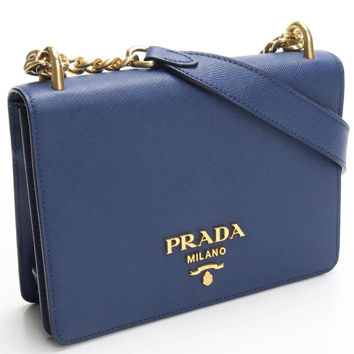 【中古良品】 プラダ PRADA チェーンショルダー ショルダーバッグ 1BD133 サフィアーノ (SAFFIANO) ブルー (blue) レディース 【ランク A】 us-2