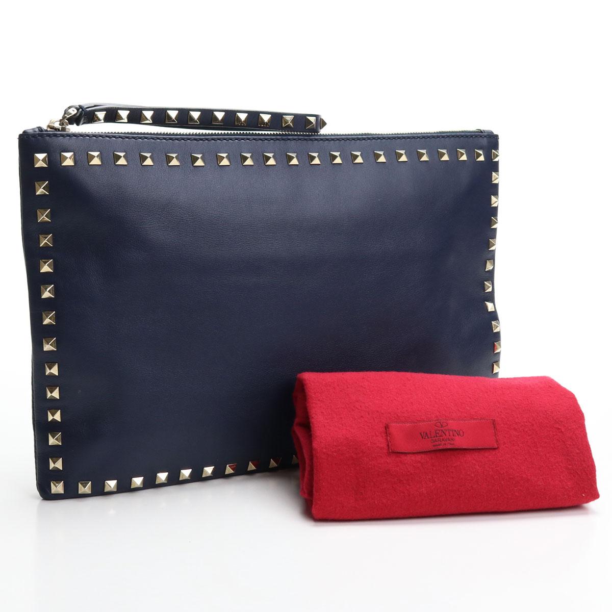 【中古良品】ヴァレンティノ (VALENTINO) クラッチ バッグ ロックスタッズ (ROCK STUD) ナッパ レザー (Nappa leather) ネイビー (NAVY) ユニセックス メンズ レディース 【ランク:A】 us-2