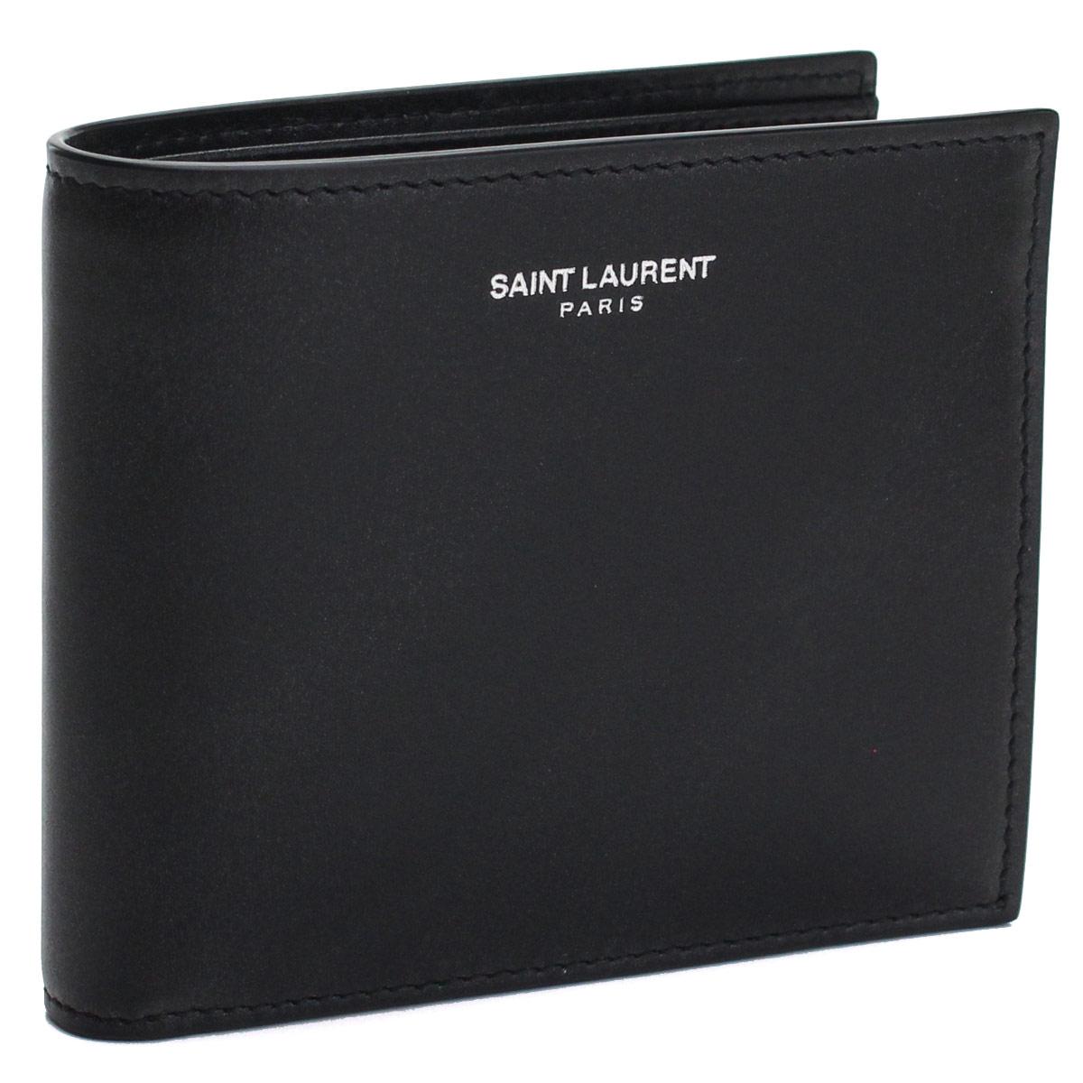 サンローラン SAINT LAURENT コンパクト財布 2つ折り財布 396303 0U90N 1000 ブラック メンズ gsm-2【キャッシュレス 5% 還元】