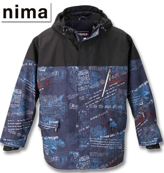 大きいサイズ メンズ nima(ニーマ) スノーボードジャケット ネイビー 3L 5L 7L 送料無料【コンビニ受取対応商品】