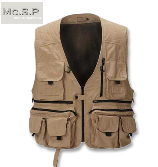 大きいサイズ メンズ ビッグサイズ BIG メンズファッション 服 エムシーエスピー 多機能ポケット SP 全品ポイント10倍 人気ブレゼント! ベージュ フィッシングベスト 送料無料 3L 4L 8L 5L コンビニ受取対応商品 本物 Mc.S.P 6L
