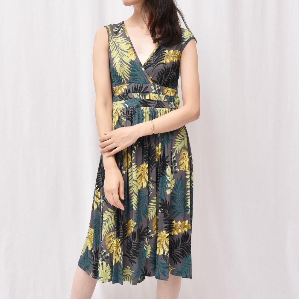 正規品 three dots(スリードッツ)DL5599Y トロピカルプリント キャップスリーブドレス