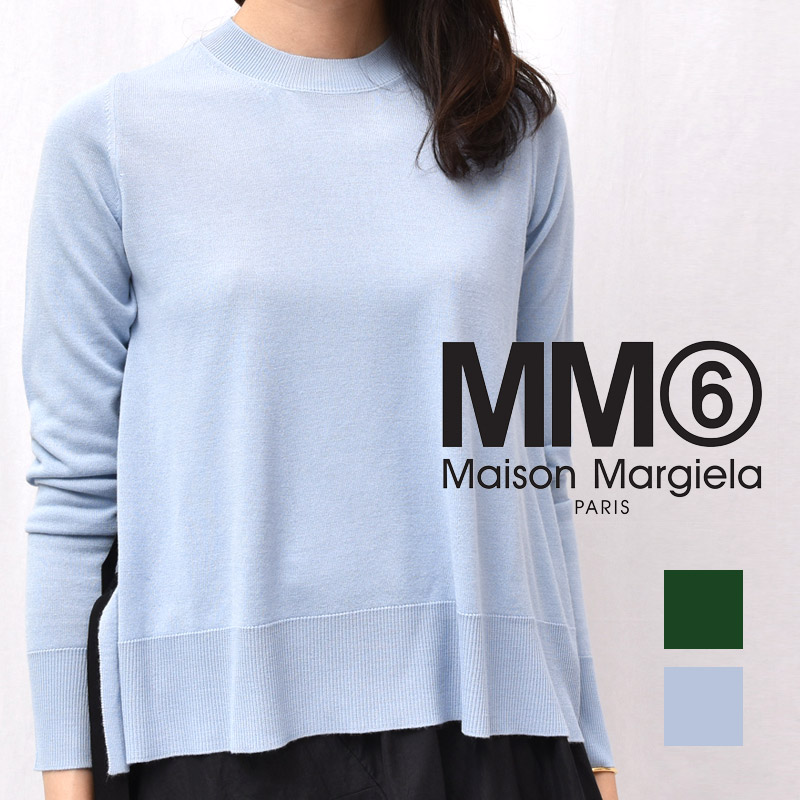 正規品 MM6 MAISON MARGIELA(エムエム6 メゾン マルジェラ)S52HA0092 サイドグログランテープ クルーネックニット