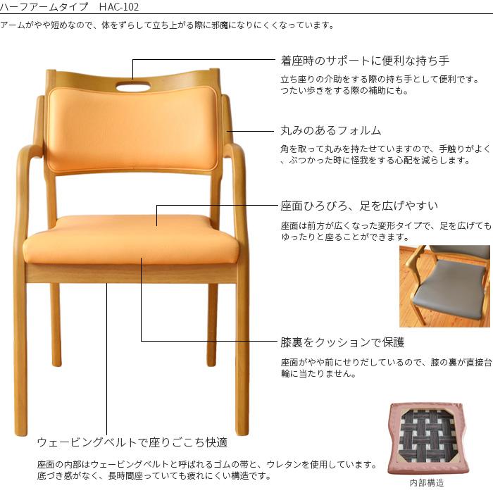 ケアチェア Care-HAC-102  ワイン/オレンジ/モスグリーン  Careチェア 肘付き ダイニングチェア リビング 居間  洗面所 木製 椅子 立ち上がり補助 スタッキング 介助イス 介護用イス 介護椅子P27Mar15