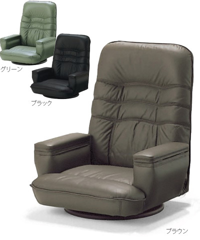 座椅子 SPR本革 リクライニング 肘掛け 回転 収納付 本革 肘付き ブラック ブラウン グリーン 国産 日本製 送料無料