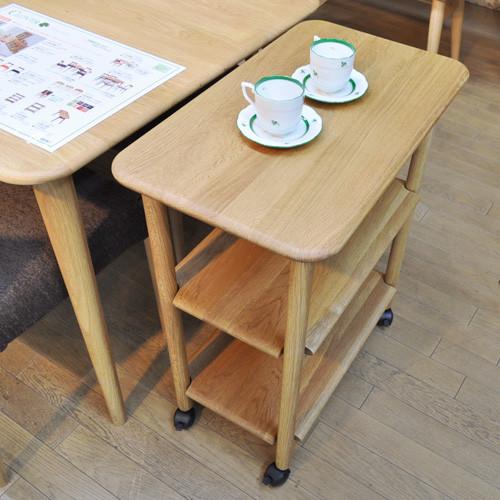 ワゴン Clover ナチュラル オーク材 天然木 テーブルワゴン キャスター付き 送料無料