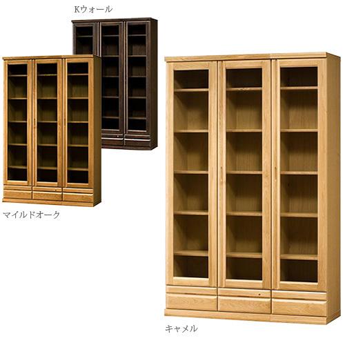 Snow Wood Oak Bookshelf 120 Cm Wide Stream Hinged Door Type Natural Bookcase Glass Doors With Domestic