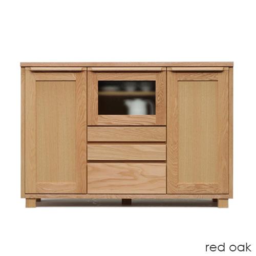 【展示品1点限り】レッドオーク材のサイドボード 129cm幅 アンリ OK-HNR 日本製 リビングボード ミドルボード キャビネット ナチュラル 天然木 送料無料