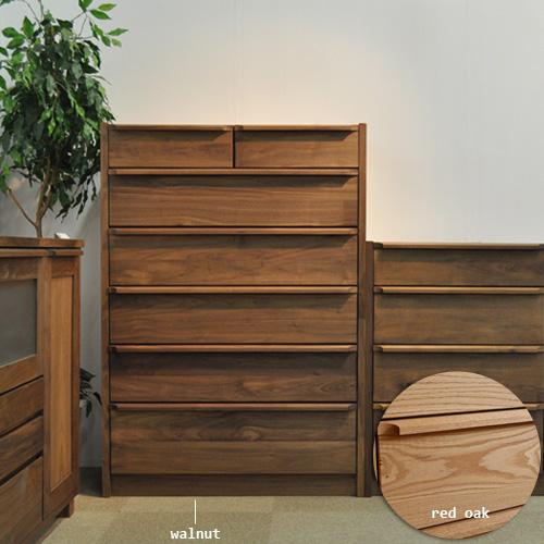 ハイチェスト 幅90cm 6段 OK-HNR 自然塗装仕上げ 天然木 国産 日本製 送料無料