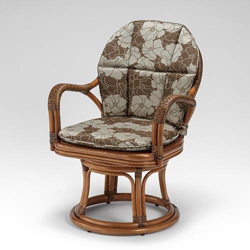 ラタン シーベルハイチェア ニューフレア〈AB〉 02-0535-92 カザマ アンティークブラウン 回転イス 肘付き 肘掛け アームチェアー New Fraya ハイタイプ 籐 椅子 送料無料