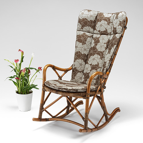 【最大1000円OFFクーポン】ラタン ハイバックロッキングチェア ノーバ〈AB〉 02-0658-92 カザマ アンティークブラウン 肘付き 肘掛け 籐 椅子 Nova