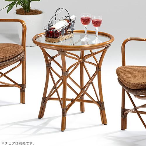 【最大1000円OFFクーポン】ラタン テーブル〈AB〉 03-0463-00 カザマ 直径50×高さ52cmアンティークブラウン ガラス天板 コーヒーテーブル 円形 円型