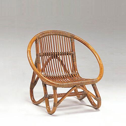 ラタン ミニラウンドチェア〈AB〉 13-0131-00 カザマ アンティークブラウン 子供用 軽い 籐 椅子 キッズチェア 送料無料