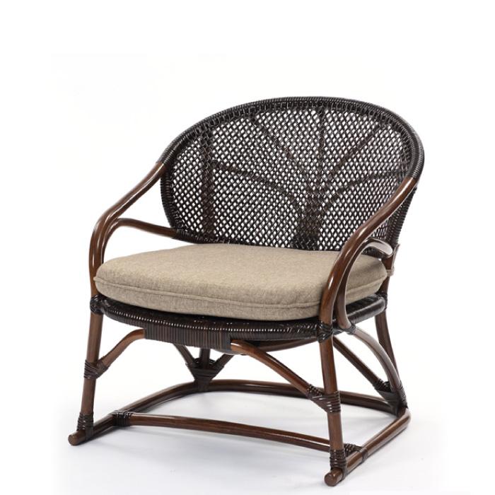 クッション付き ラタンチェア C123KAZWAHOOシリーズ 肘掛付き ラタン手編み パーソナルチェア ダークブラウン 籐製 木製 籐椅子 送料無料