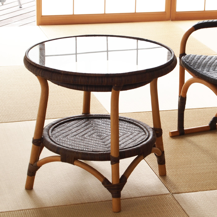 ラタン テーブル T114CB 直径55×高さ52cmWAHOOシリーズ ガラス天板 ラタン 手編み ラタン 製 籐製 木製 カフェテーブル 円形 円型【送料無料】