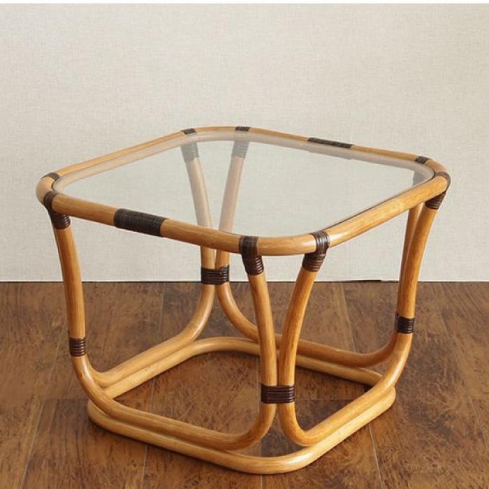 ラタン テーブル T200CB 幅55×奥行55×高さ40cmWAHOOシリーズ ガラス天板 籐製 木製 カフェテーブル【送料無料】