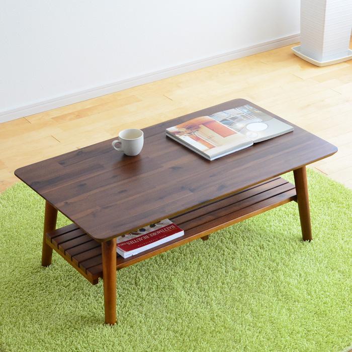 テーブル 折りたたみ コティ スクエア 棚付き 完成品 15816 木製 折れ脚 リビングテーブル センターテーブル ローテーブル 天然木 アカシア材 角型 コンパクト ナチュラル 新生活 一人暮らし 送料無料