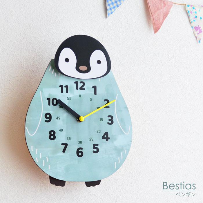 振り子時計 Bestias CL-3368-bl 壁掛け時計 ベスティアズ ペンギン 子ども部屋 お誕生祝い かわいい 音が鳴らない スイープムーブメント 静か