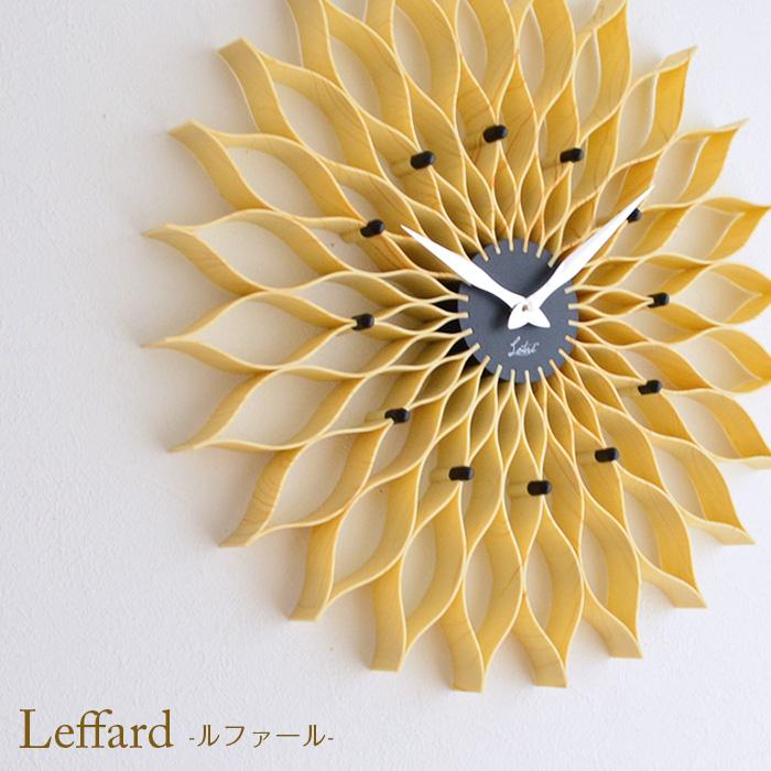 壁掛け時計 Leffard ルファール CL-9903 NA ナチュラル ステップムーブメント ウォールクロック 掛時計 レトロ おしゃれ かっこいい