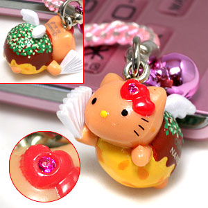 ◆ Osaka limited edition Hello Kitty (HELLOKITTY) Namba, takoyaki Angel Kitty strap