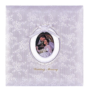 【送料無料】◆ ナカバヤシ フエルアルバム婚礼用 ウエディングメモリー W(ホワイト) 名入れ刺繍込み Lサイズ ア-LK-609/N