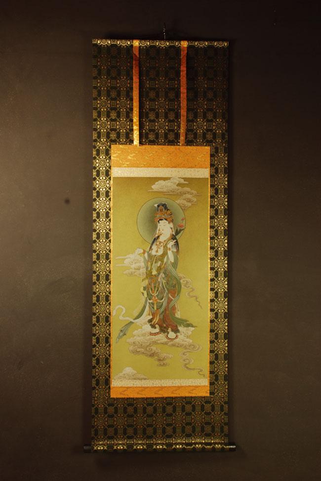 【送料無料】◆観音菩薩 仏画掛け軸 半切サイズ