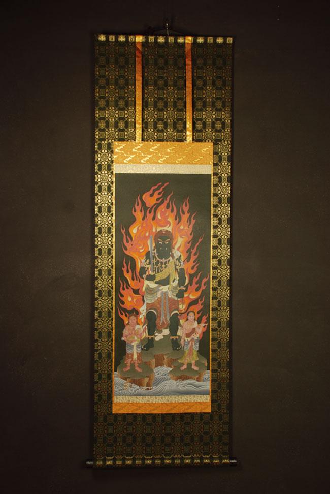 【送料無料】◆不動明王 仏画掛け軸 半切サイズ