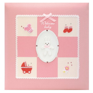 【送料無料】◆ ナカバヤシ フエルアルバムDigio 誕生用 ウエルカムベビーシリーズ ピンク 名入れ刺繍込み Lサイズ アH-LB-501