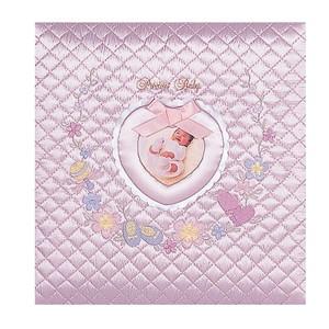 【送料無料】◆ ナカバヤシ フエルアルバム 誕生用 ワンダフルベビー ピンク 名入れ刺繍込み Lサイズ ア-OLB-807/N