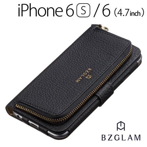 【送料無料】☆◆ BZGLAM iPhone6s iPhone6 (4.7インチ) 専用 レザーコインカバー ブラック i6S-BZ14【iphone/IPHONE/アイフォン/シックス/エス/ケース/カバー/ジャケット/手帳型/ブックタイプ/レザー】