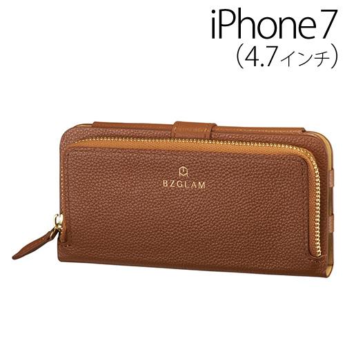 【送料無料】☆◆ BZGLAM iPhone7 (4.7インチ) 専用 レザーコインカバー (手帳型) ブラウン iP7-BZ10【iphone/IPHONE/アイフォン/セブン/ケース/カバー/ジャケット】
