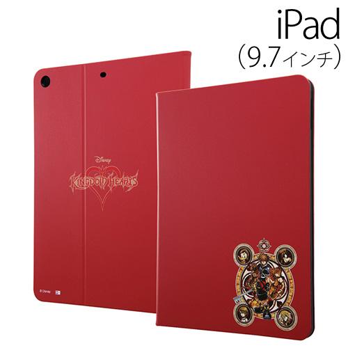 ☆◆ イングレム キングダムハーツ 9.7インチ iPad 2017 専用 タブレットブックカバーケース 赤 IJ-DPA8LC/KH014